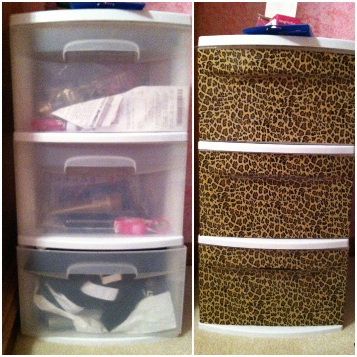 Transform plastic drawers using duct tape estilos for Decoracion hogar leopardo