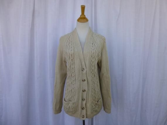019d95cf68c1e Vintage 70s 80s Honeycomb Diamond Hand Knitted Wool Cardigan Sweater ...