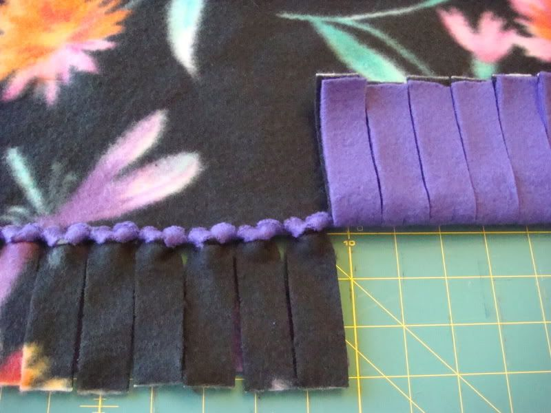 No Sew Blanket Knot Tying You start out by cutting the