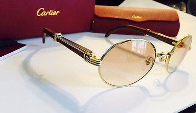 f9672f3e58c RARE Vintage Cartier Giverny 18k Sunglasses Size 55-22 Natural Wood Frame