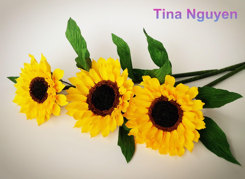 Sunflower paper flowers craft tutorial 花 pinterest paper