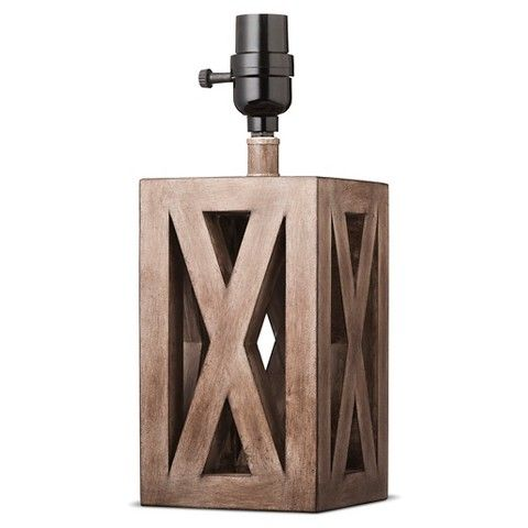 Washed Wood Box Lamp Base Small - Threshold | Lamp bases, Wood ...