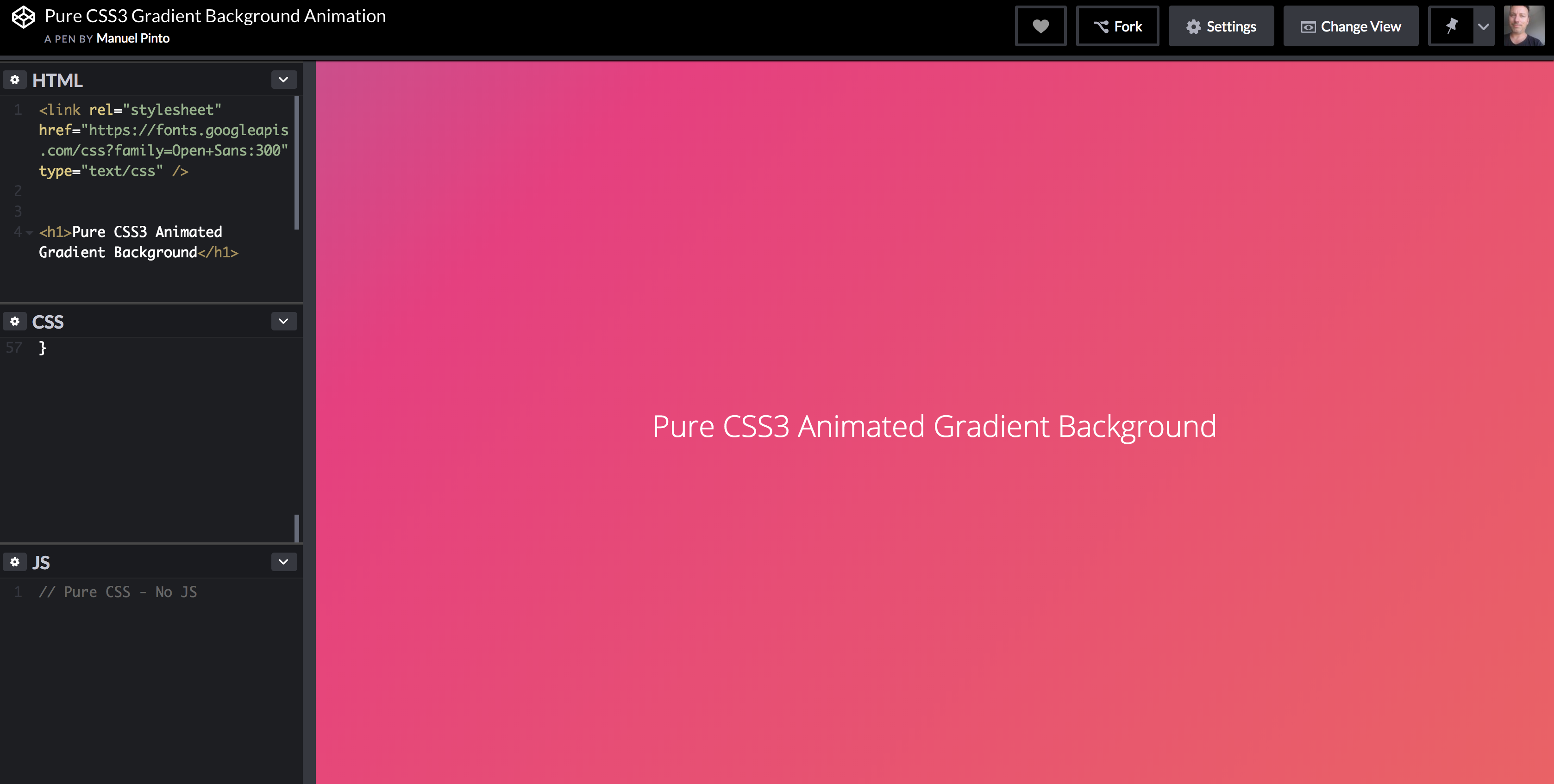 Could use this pure CSS gradient background animation