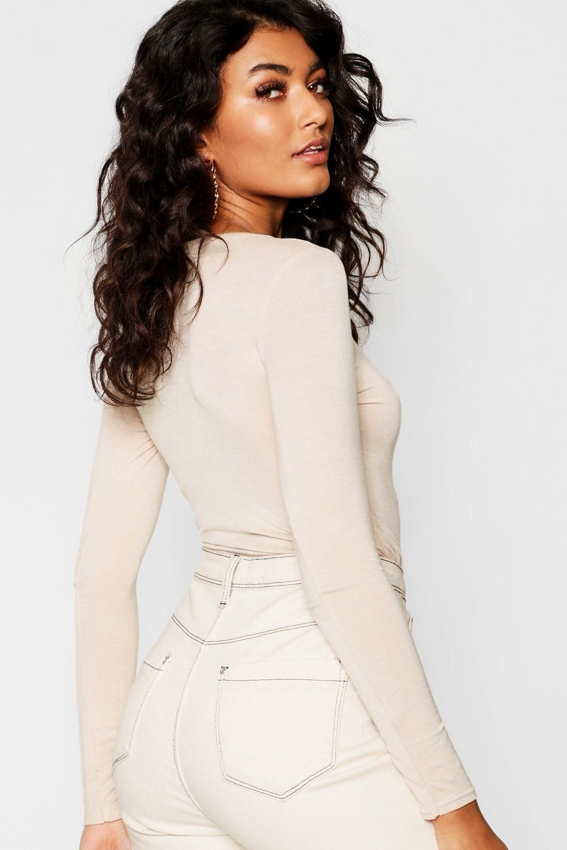 Women Ladies Celebrity Style Scoop Neck Long Sleeve Stretch Bodysuit Leotard Top