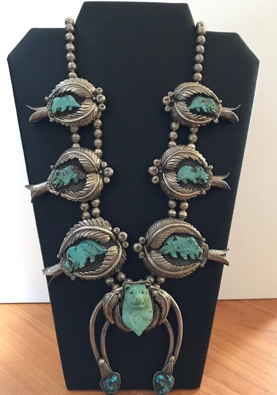 c06934cb6 Vintage carved animal Squash Blossom Necklace Navajo Sterling Silver &  Turquoise
