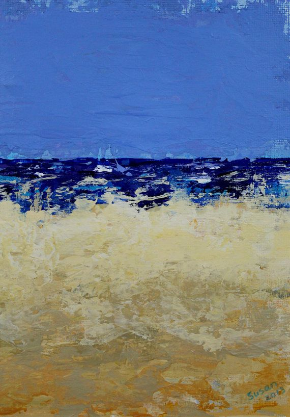 Abstract Seascape Original Painting on Paper by SusanNolker