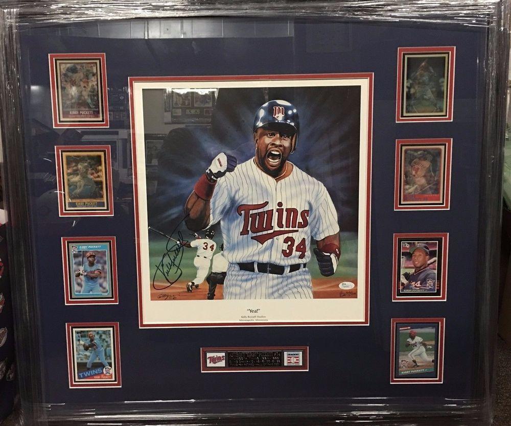 Kirby Puckett Signed 1991 World Series Game 6 HR Lithograph Card Display JSA COA #MinnesotaTwins