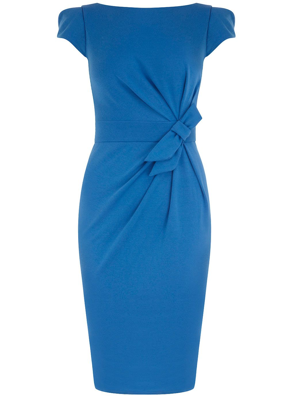 Blue bow detail ponte dress from Dorothy Perkins. #bluebridesmaid #weddingstyle