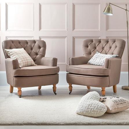 Living Room Ideas Mink mink collette button back armchair | dunelm | bedroom ideas
