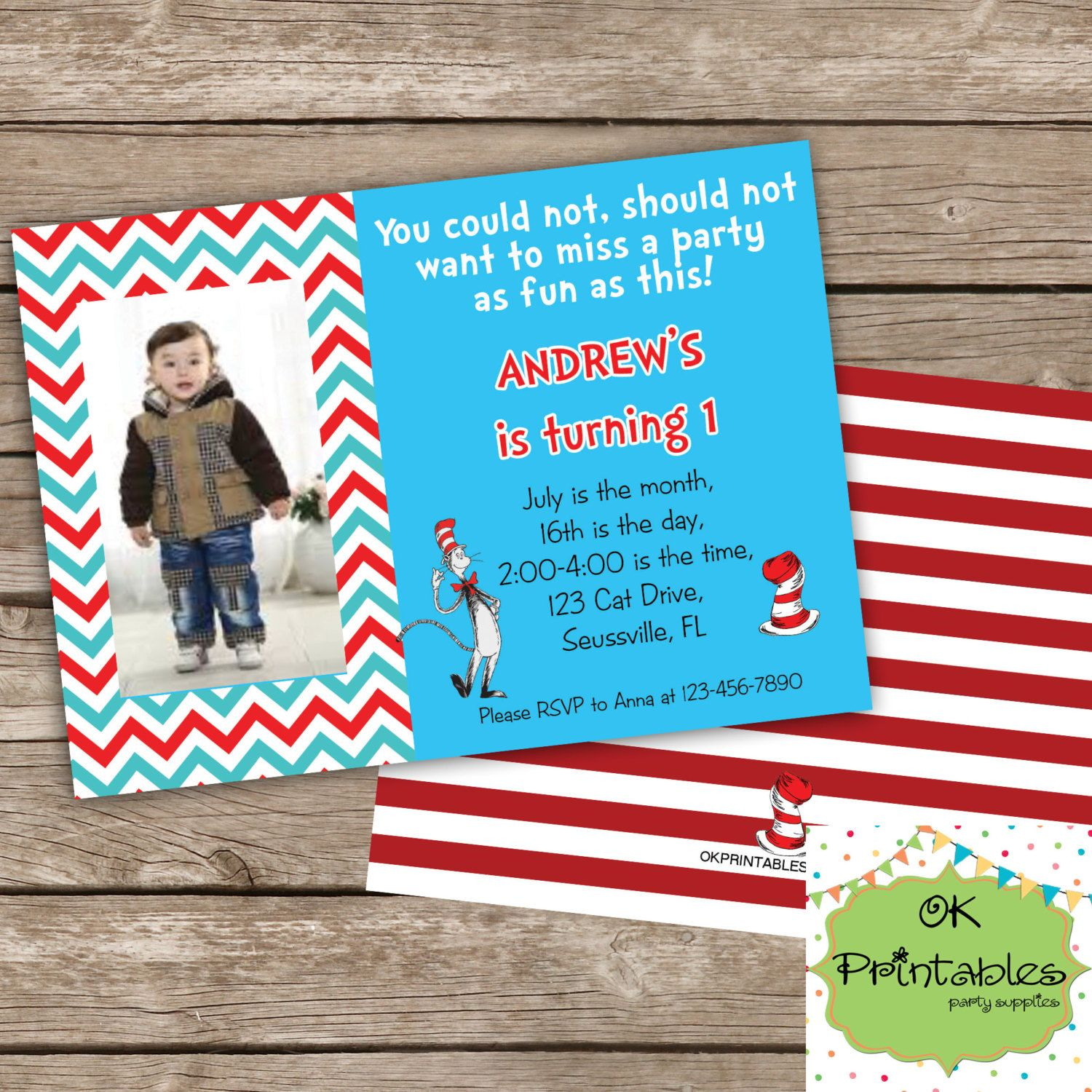 Dr Seuss inspired party invitation- Dr Seuss Party Invite- Cat in ...