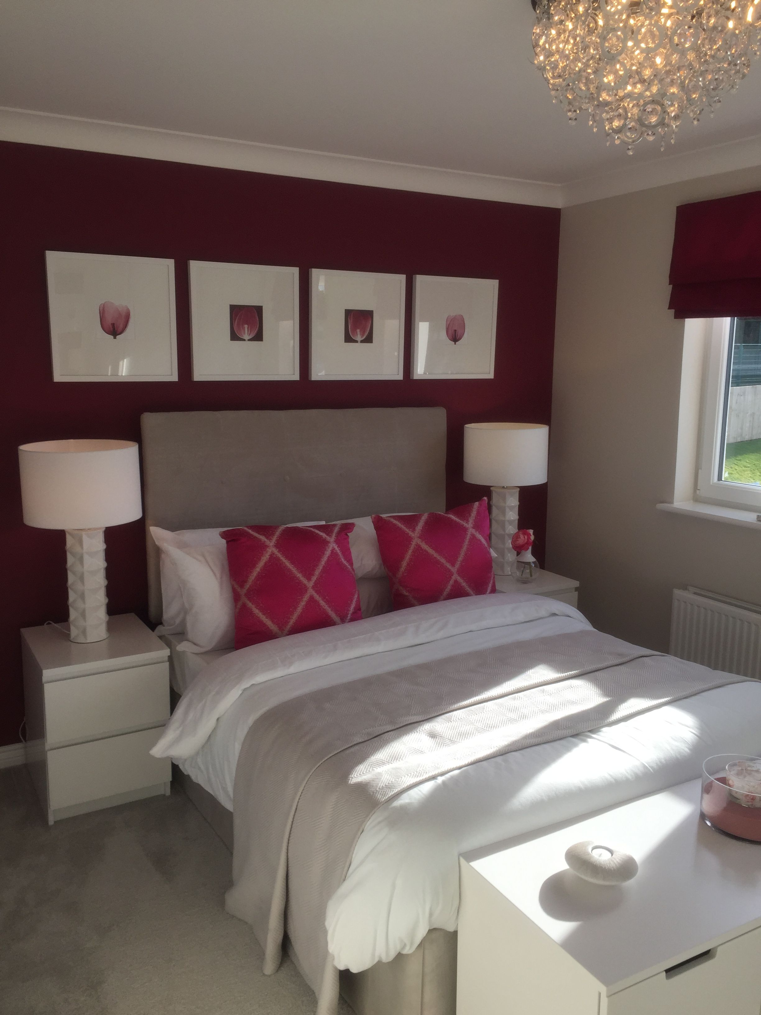 Pink Feature Wall Raspberry Pink Bedroom Grey Fabric