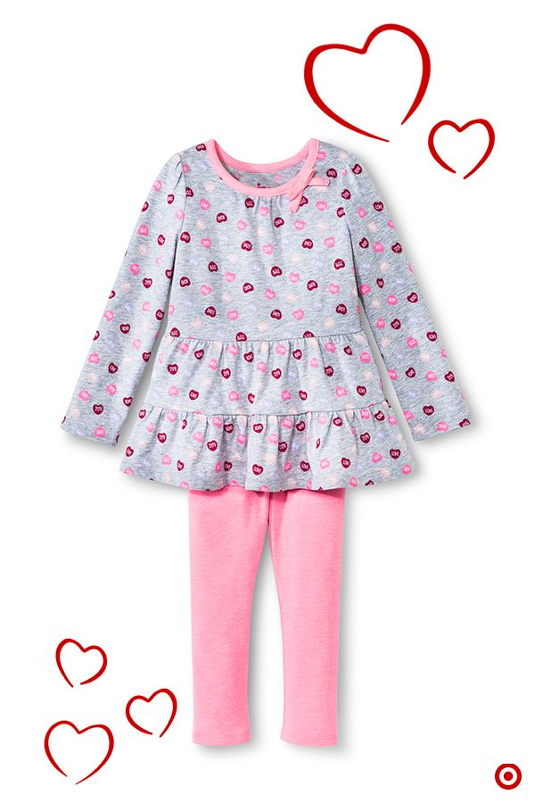 Little Girls Cute Heart Pattern 2 Pieces Outfit
