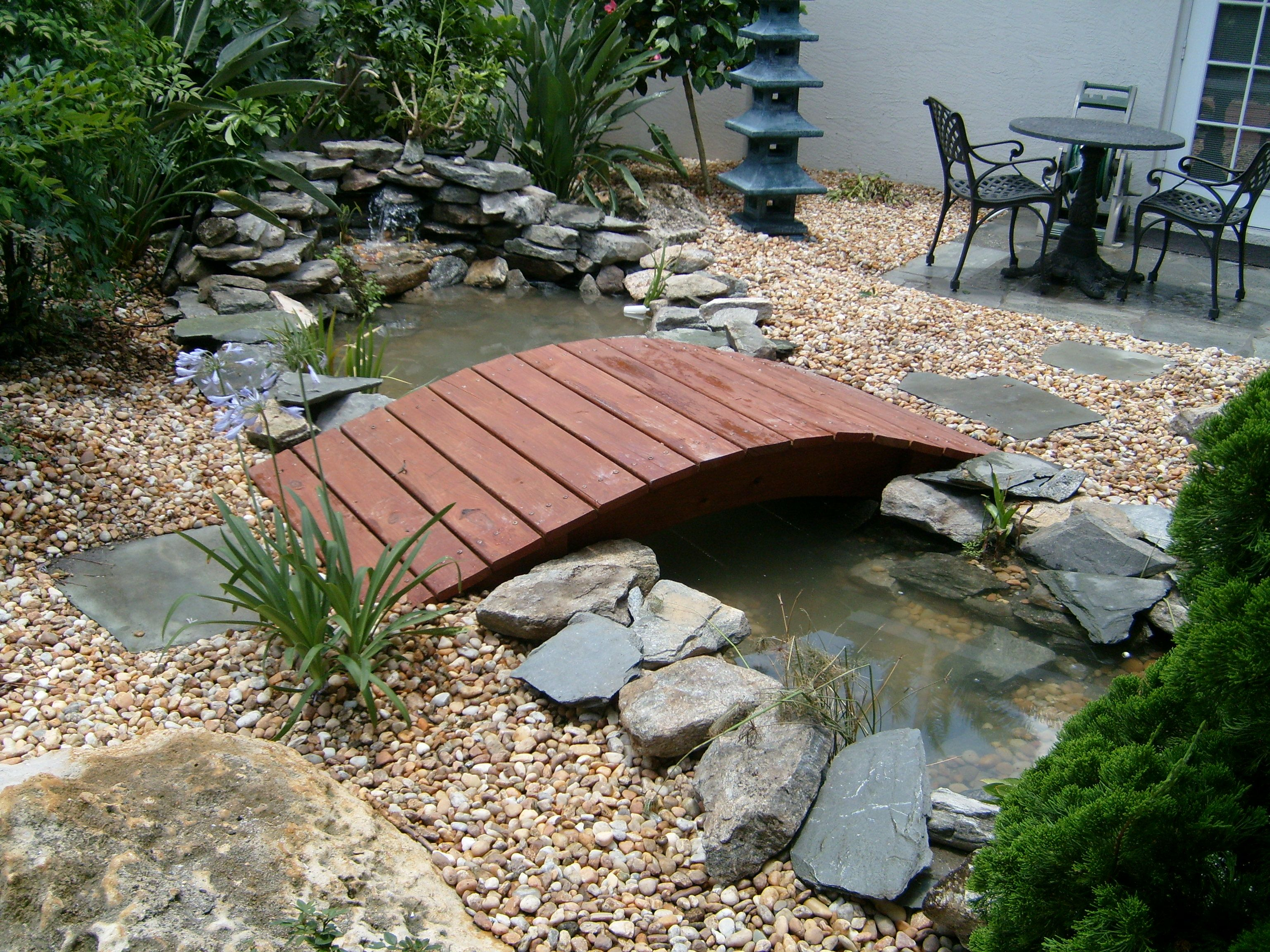 Backyard bridges over small stream ponds and water for Fish pond bridges