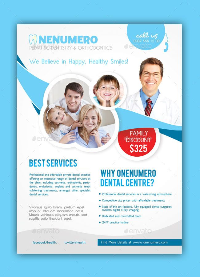 Dentist Flyer Template | folheto dentista | Pinterest | Flyers ...