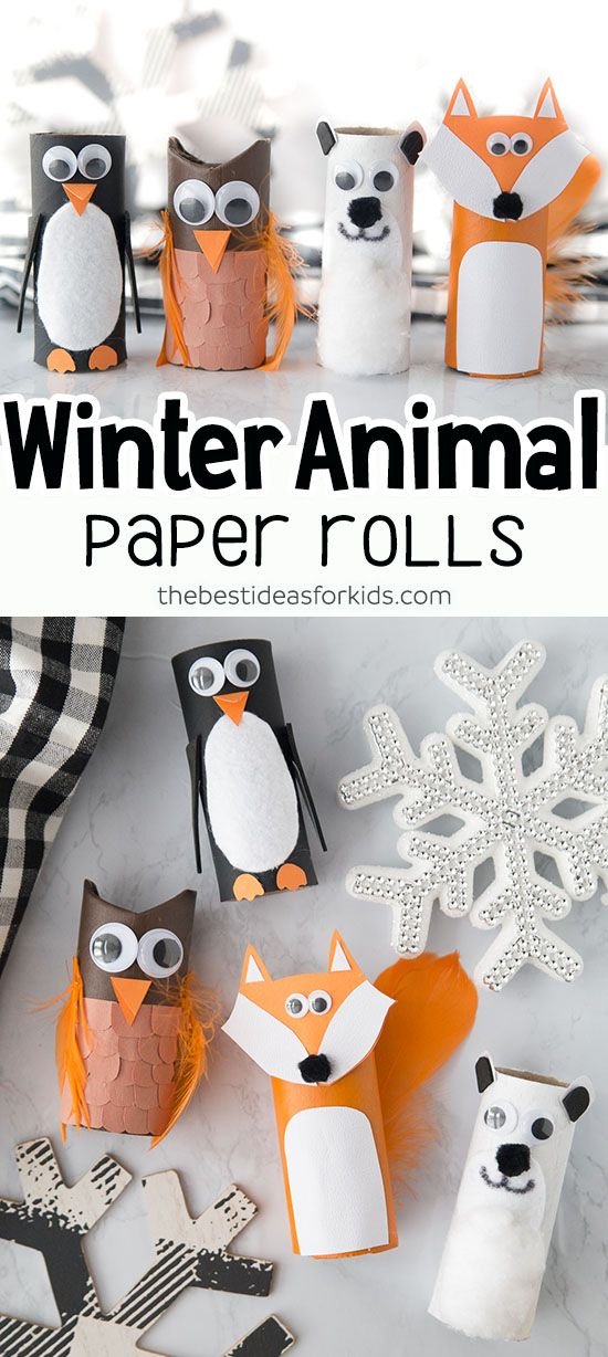Winter Toilet Paper Roll Animals #halloweencraftsfortoddlers