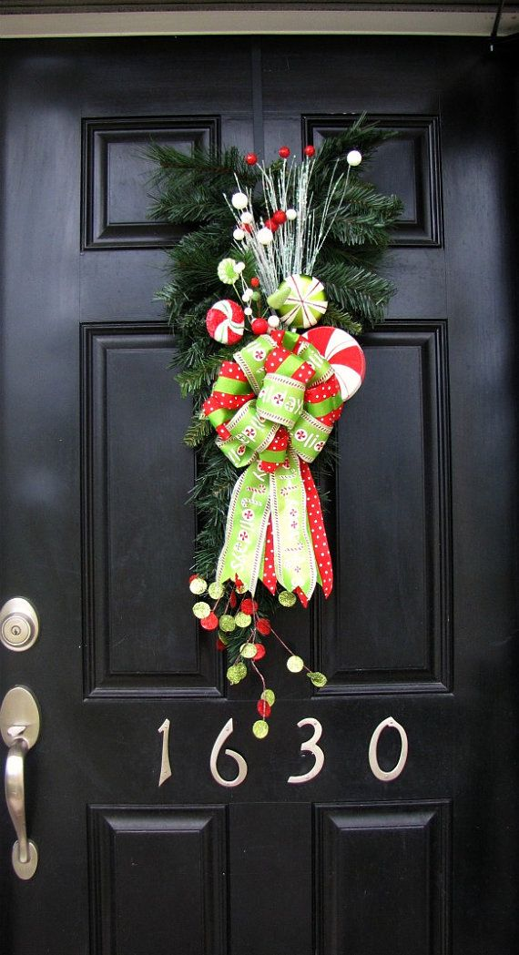 CLEARANCE SALE Christmas Wreath/Swag for Front Door with Candy