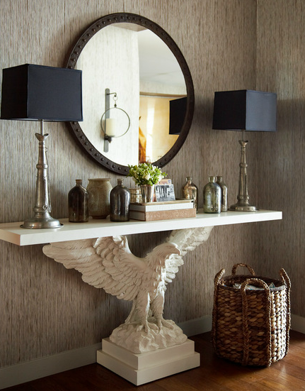 entryway table and mirror. Entrances/foyers - Gray Textured Walls Metal Rivets Round Mirror White Eagle Console Table Pewter Entryway And L
