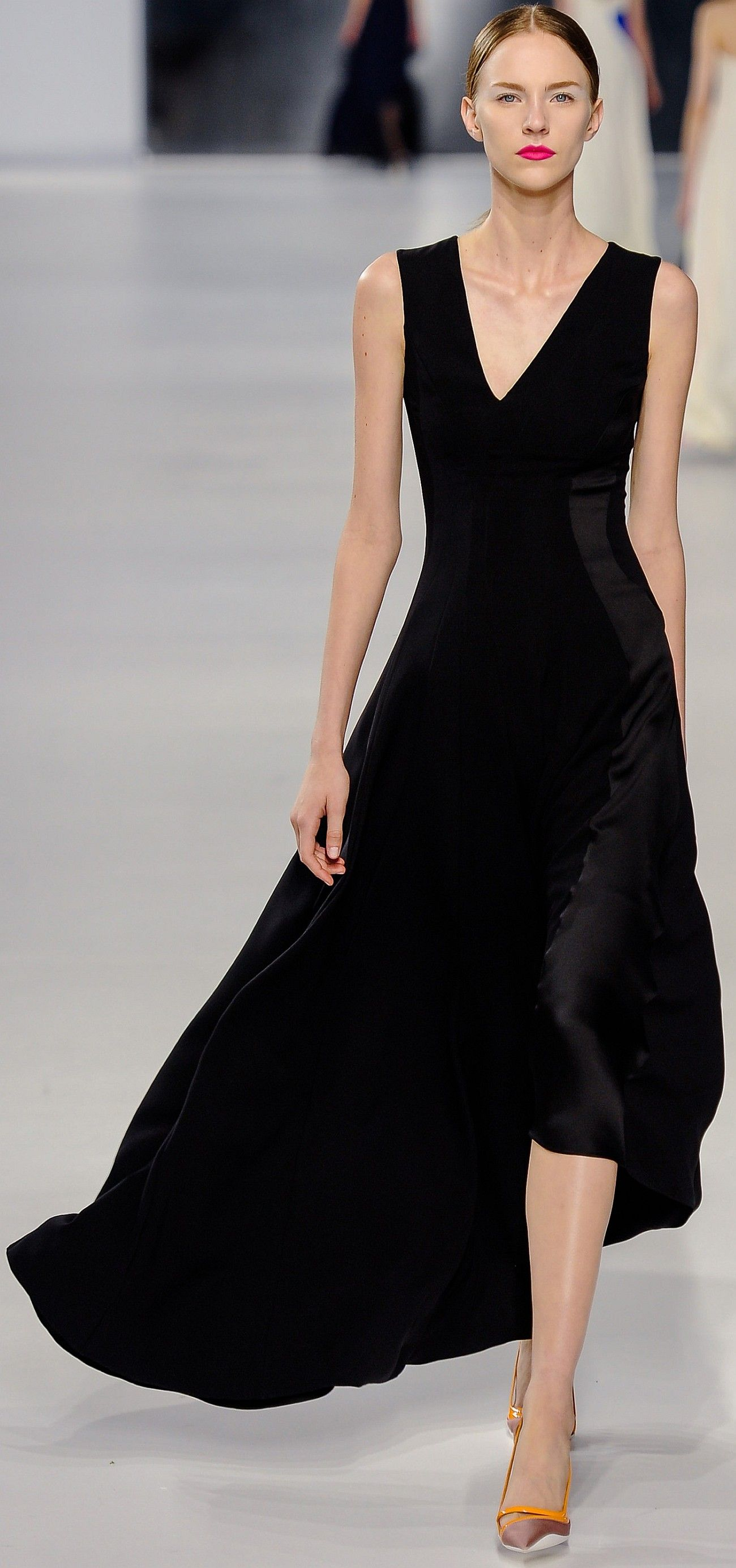 Fabulous LBD with assymetric necklace and flowing skirt. Christian ...