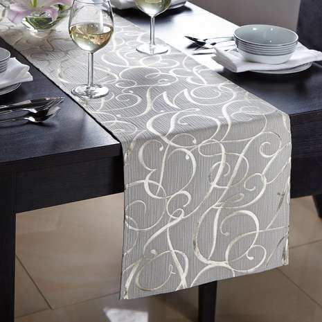 Elegant Gold Script Table Runner Fancy Table White Table Cloth Table