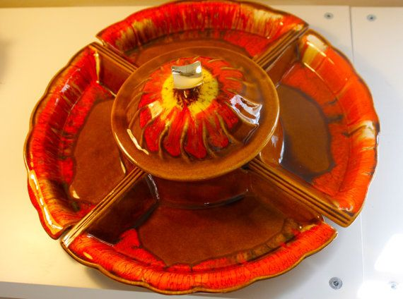 Groovy #Vintage Lazy Susan #Fondue #Dishes in #la #krrb