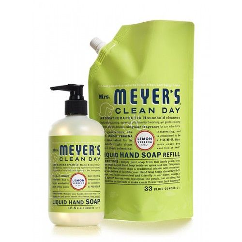 Mrs. Meyer's Clean Day Lemon Verbena Hand Soap and Refill Set is earth-friendly and economical. Liquid Hand Soap contains aloe vera gel, olive oil and natural essential oils to create a hard working, yet softening cleanser for busy hands. The refill is packaged in a handy pouch made of 40% less plastic than traditional plastic refill containers—and refills your hand soap bottle almost three full times. This set includes (1) Lemon Verbena Hand Soap, 12.5 oz. and (1) Lemon Verbena Hand Soap…