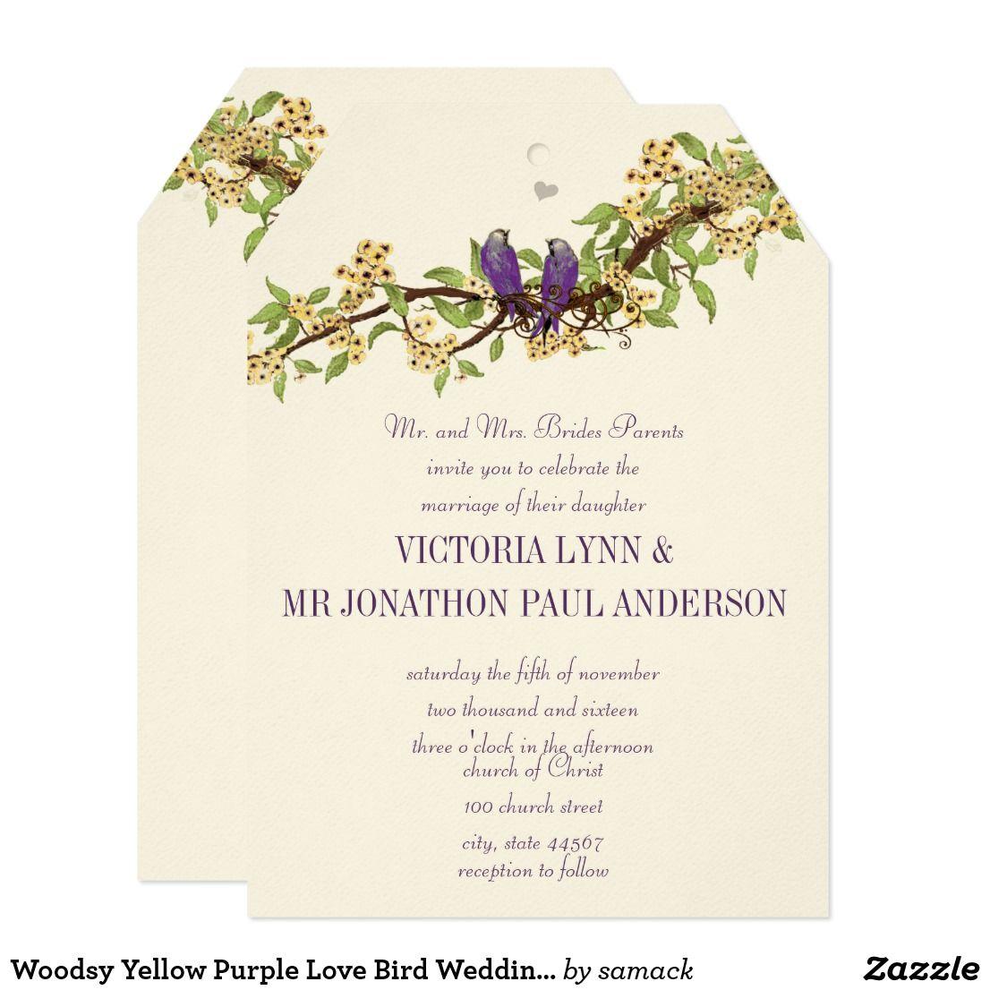 Woodsy Yellow Purple Love Bird Wedding Invitations | Invites wedding ...