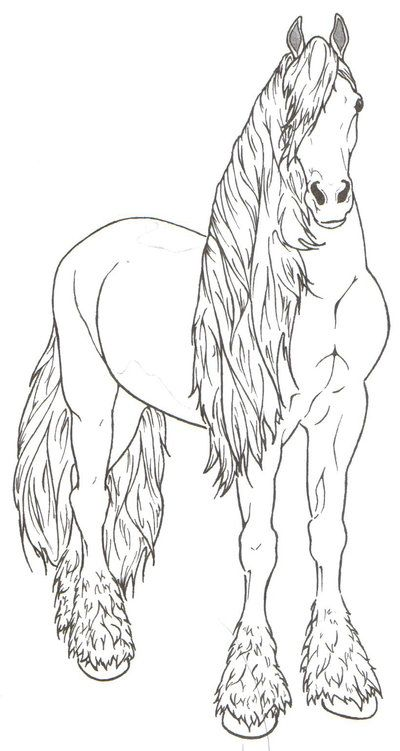 Friesian Horse By Requay On Deviantart Horse Coloring Pages Horse Coloring Animal Coloring Pages