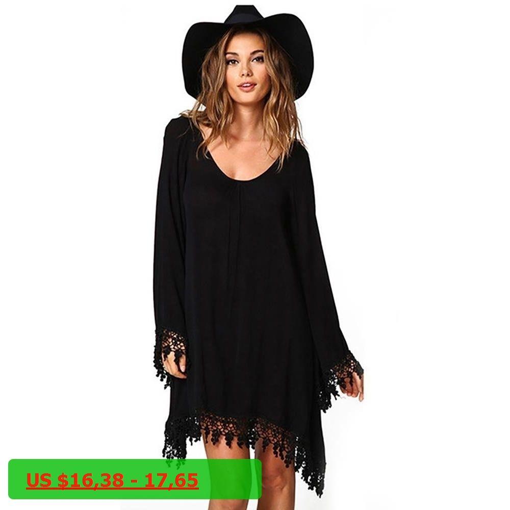 2017 Summer Women Boho Tassel Dress Short Vestido Sexy Lace Crochet Chiffon  Tunic Hollow Black Beach 4e628636f07f