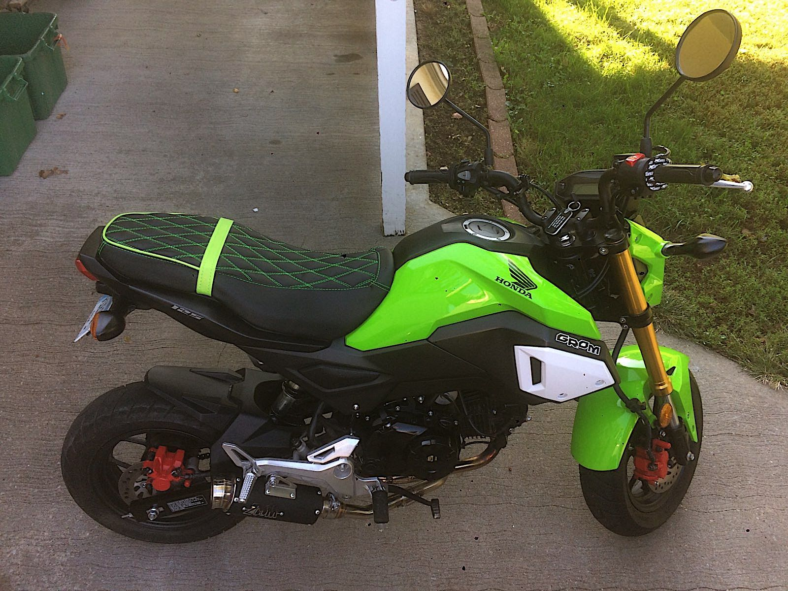 Honda Grom Seat Cover Msx125 2013 2019 Diamond Stitch With Bright Green Accents Honda Grom Bright Green Green Accents