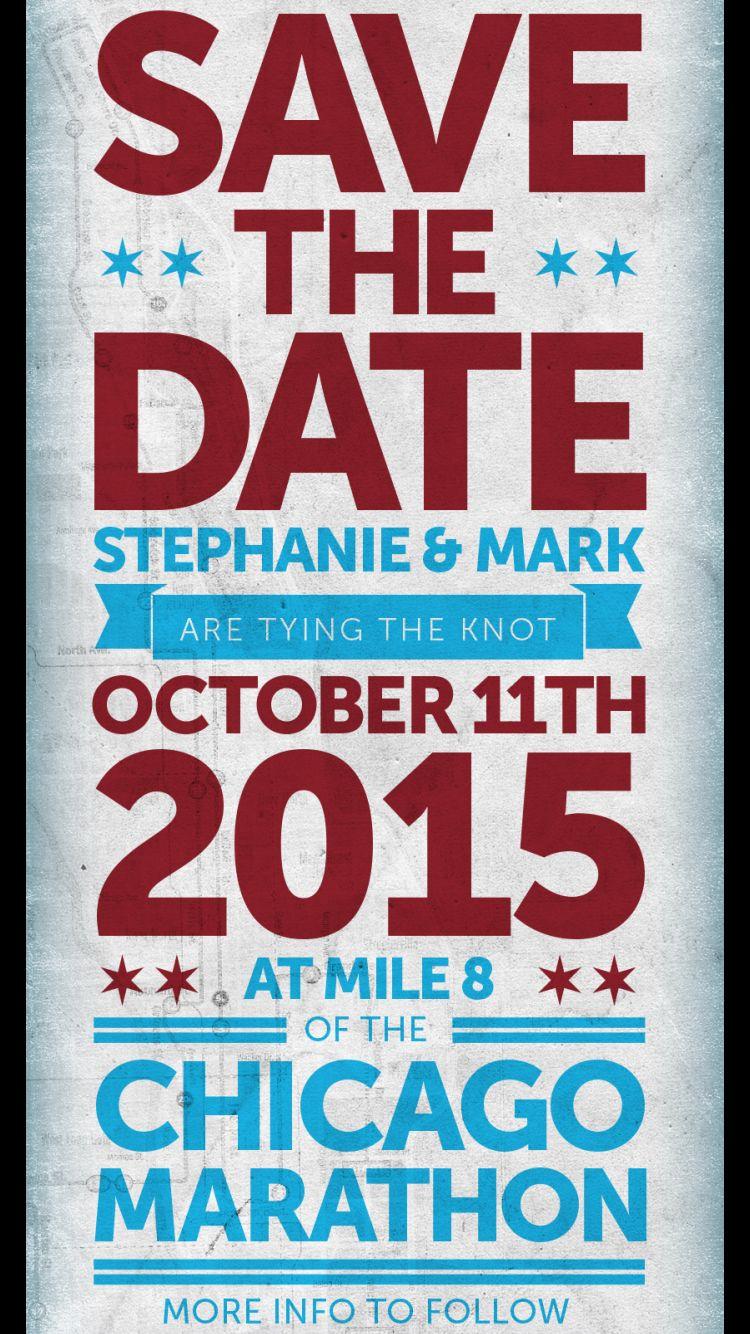 Chicago Marathon wedding save the date #Chicago #Marathon #wedding ...