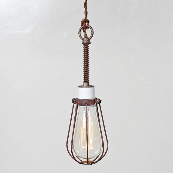 Vintage Industrial Rustic Wire Bulb Cage Trouble Light