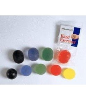 Thera Band Hand Exercisers are specially formulated exercisers provided in a progressive sequence of five translucent colors. They are used for post-surgical hand rehab as well as hand, finger and forearm strengthening. Hand Exercisers can be easily cleaned with soap and water, allow to air dry, then coat lightly with corn starch or baby powder. Rub powder between your hands, then rub on ball for an even coating. You can heat hand exercisers in the microwave in 5 second increments and test…