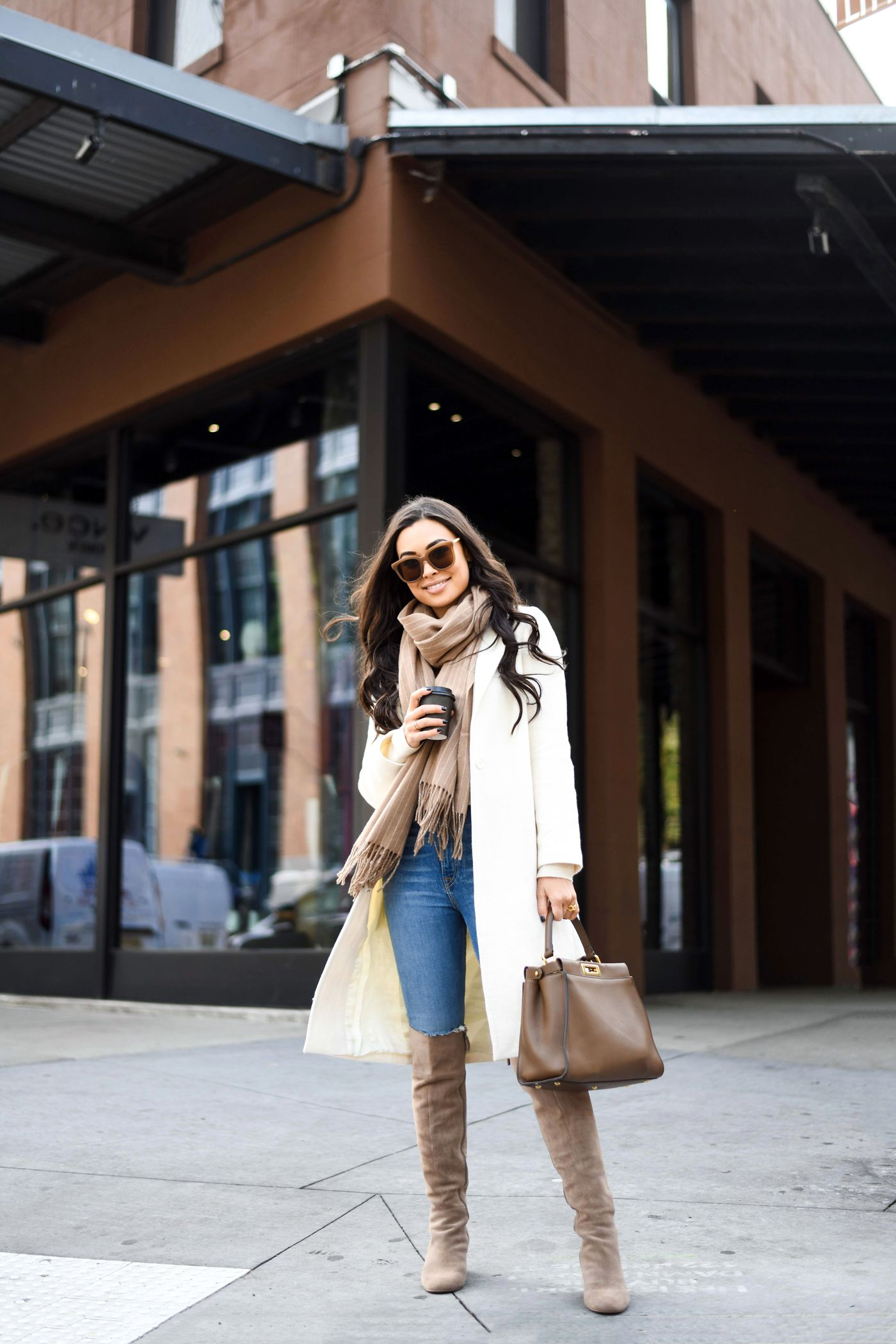 White Coat For Fall By Kat Tanita With Love From Kat White Coat Outfit Coat Outfit Casual Winter Coat Outfits [ 2100 x 1400 Pixel ]