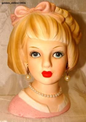 "RARE 1960's ""RELPO JAPAN"" LADY HEAD VASE with ""BOB HAIRDO"" and BOW, PINK ATTIRE"
