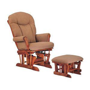Shermag Glider Rocker And Ottoman Combo Oak Chablis Peat Fabric