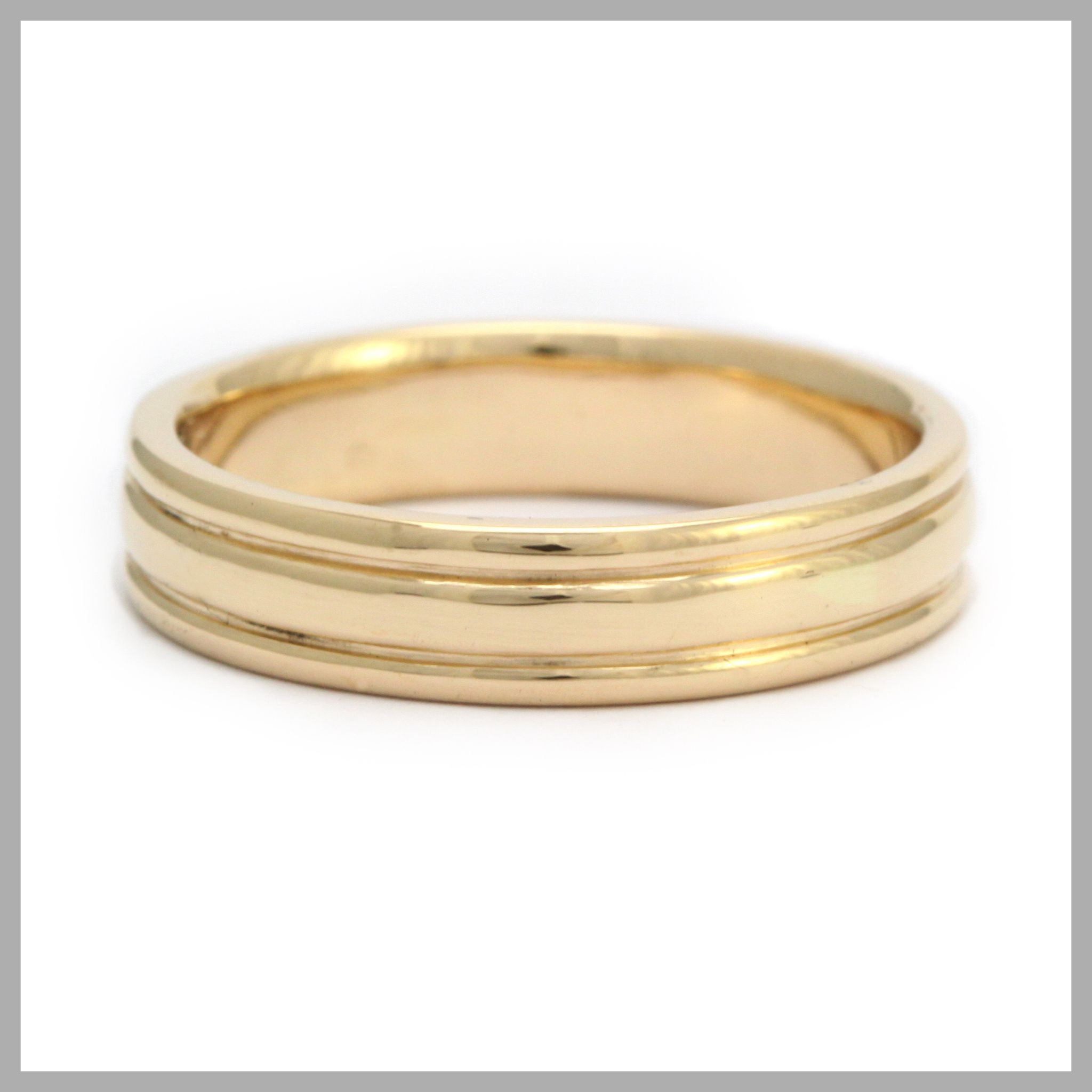 Grooved Ring Handmade Bespoke Gold Platinum Palladium Contemporary Wedding Band