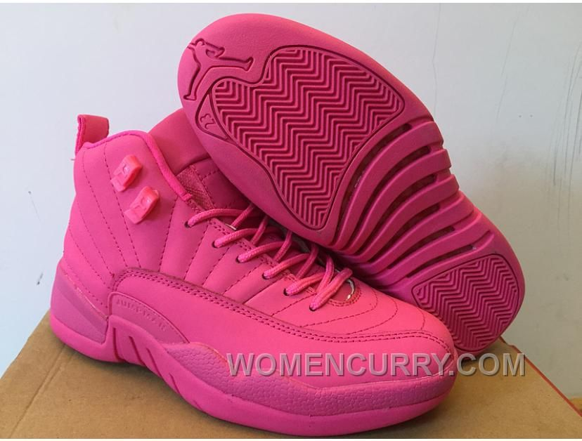 5b5cff0ba50436 Girls Air Jordan 12 All Pink Shoes For Sale Authentic 23it8Kp in ...