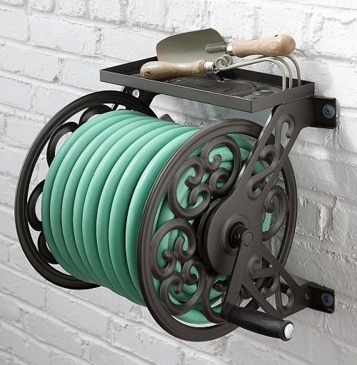 Water Hose Reel Wall Mount Steel Garden Decorative Shelve Storage Outdoor  Yard