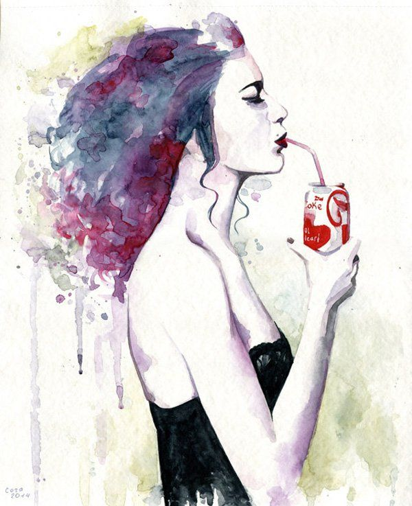 you loved cola after sex by cora tiana - Watercolor Paintings by Cora and Tiana <3 <3