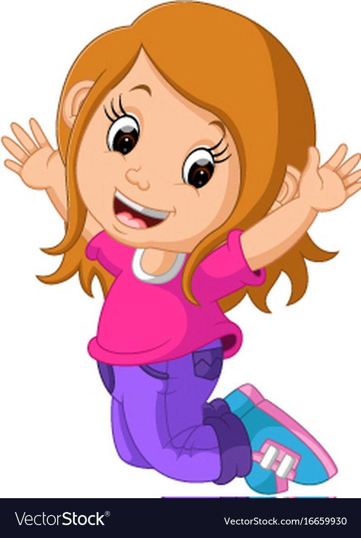 Cute girl cartoon vector image on