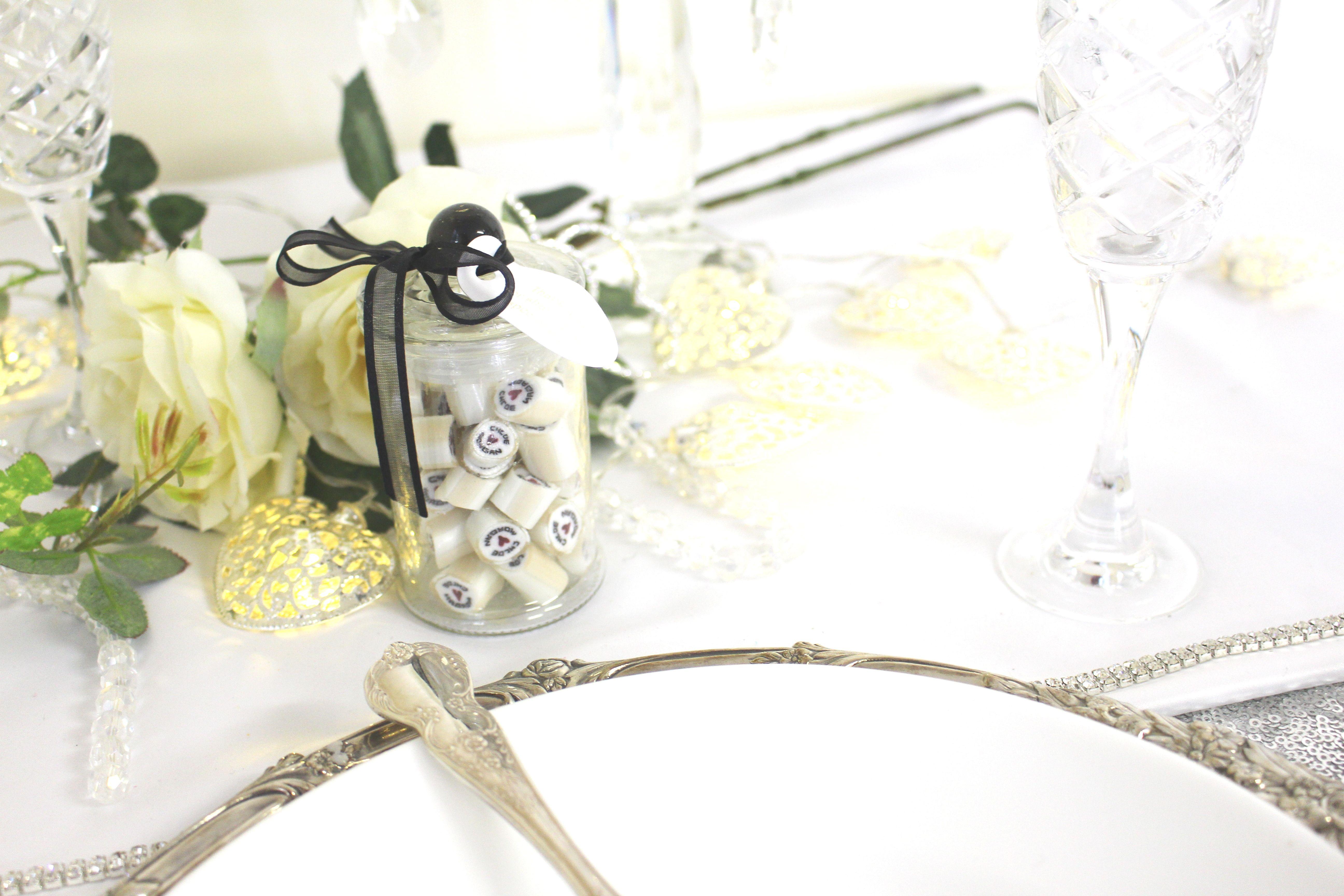glass jar wedding bomboniere ribbon table setting favors thank you ...