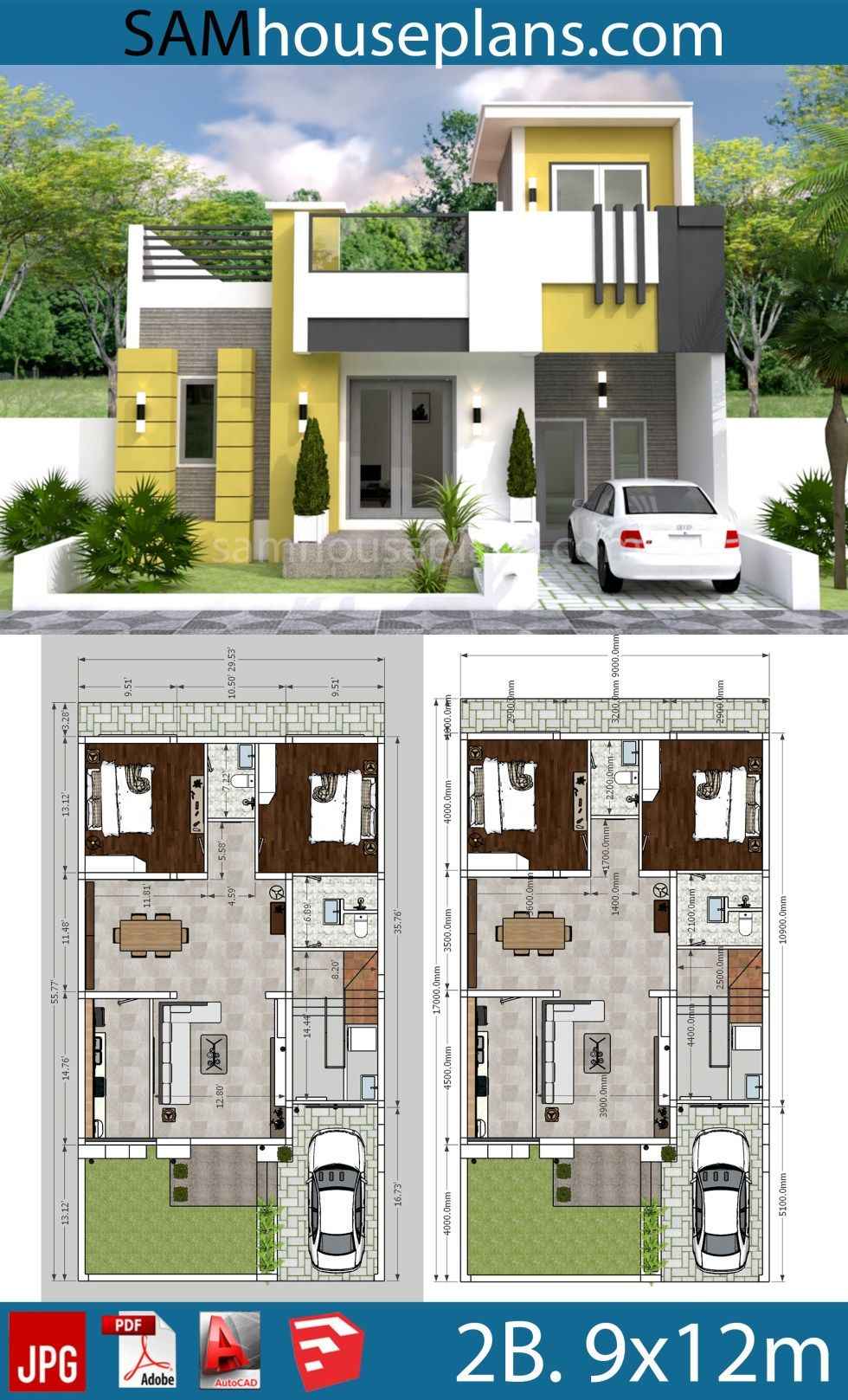 House Plans 9x12m With 2 Bedrooms Sam House Plans Kerala House Design House Roof Design House Plans