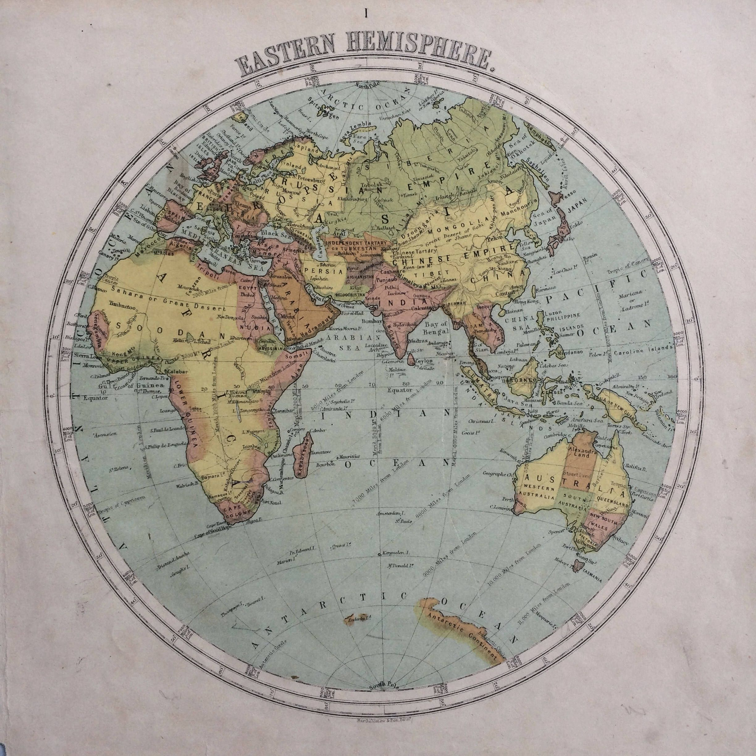 1865 eastern hemisphere original antique hand coloured engraved 1865 eastern hemisphere original antique hand coloured engraved square map nelsons atlas wall decor world map home decor by ninskaprints on etsy gumiabroncs Images