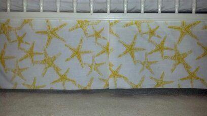 Yellow Starfish baby crib skirt. Sea Theme. Long Options. Matching valance avble , fits toddlers beds. Zoo, baby Free Shipping