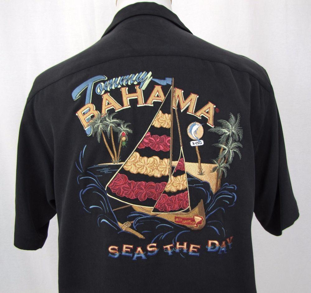 85794447773a Tommy Bahama Shirt Small Hawaiian Embroidered Seas The Day 100% Silk Aloha  Camp #TommyBahama #ButtonFront