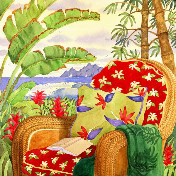 Tropical Red Beach Chair Island Art with Ocean, Palms and Bamboo ...