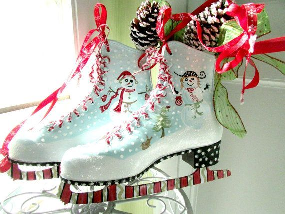christmas painted ice skates | visit etsy com