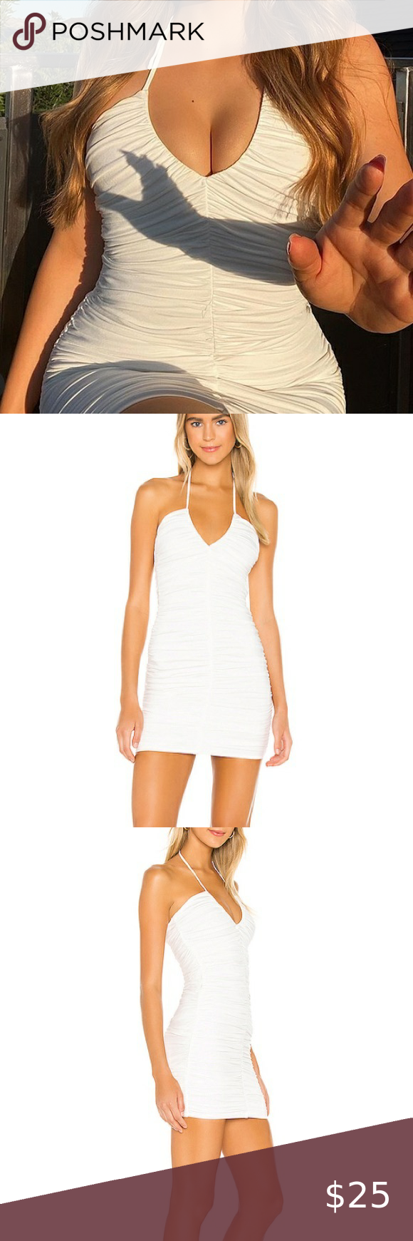 Stretchy White Ruched Dress Ruched Dress Ruching Dresses [ 1740 x 580 Pixel ]