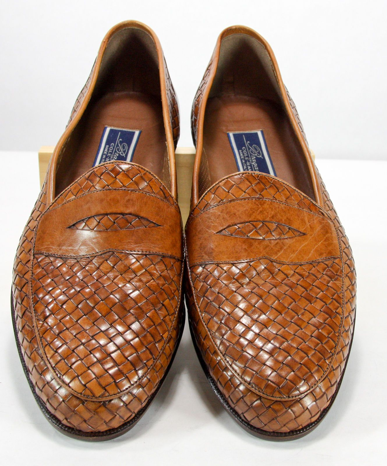 Brown Woven Leather Loafer Dress Shoes