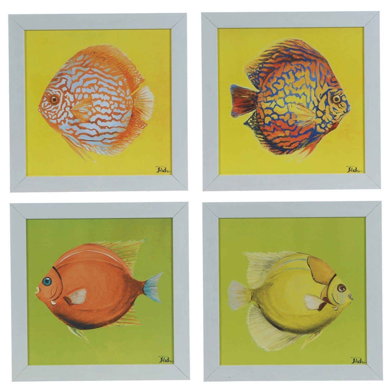 Crestview Bright Aquatic Life (Set Of 4) Framed Print CVA3683 | Products